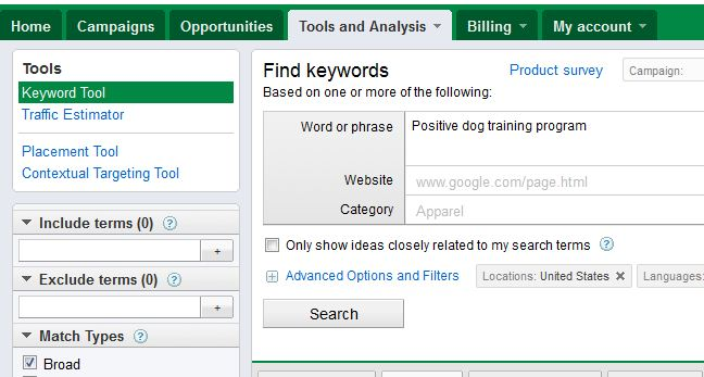 using google keyword external to find a blog domain name